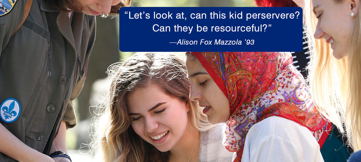 Picture of students, smiling, sunshine, head scarf. Quote from Alumnae Alison Mazzola about perseverence.