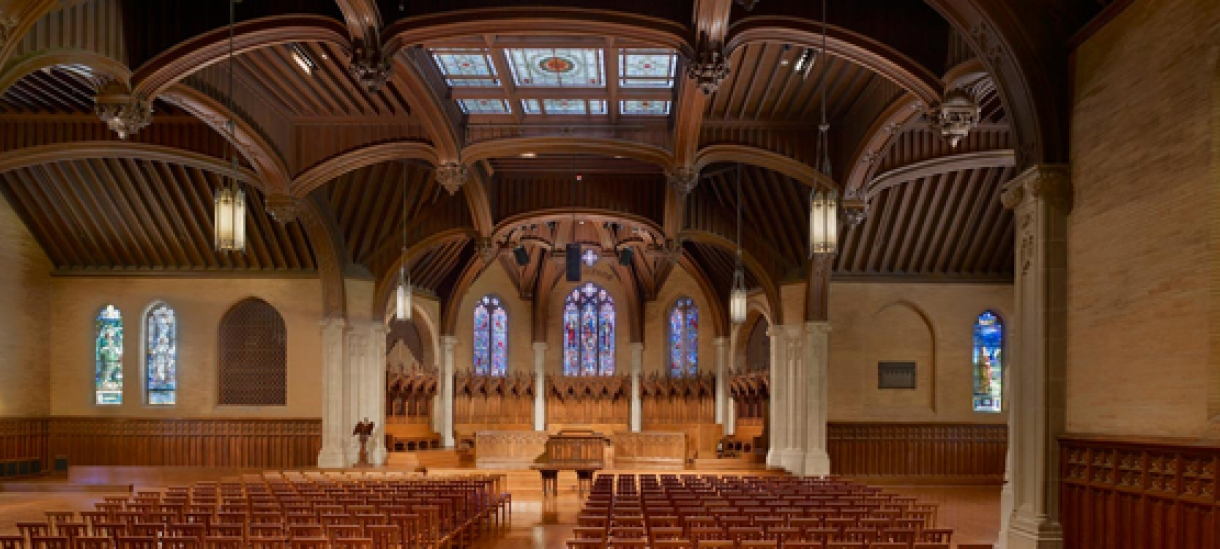 The spacious interior of Houghton chapel