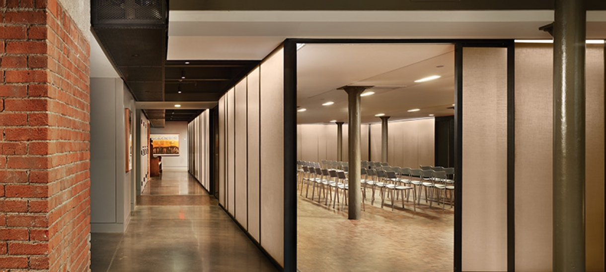 The multifaith center meeting space is modern and spacious