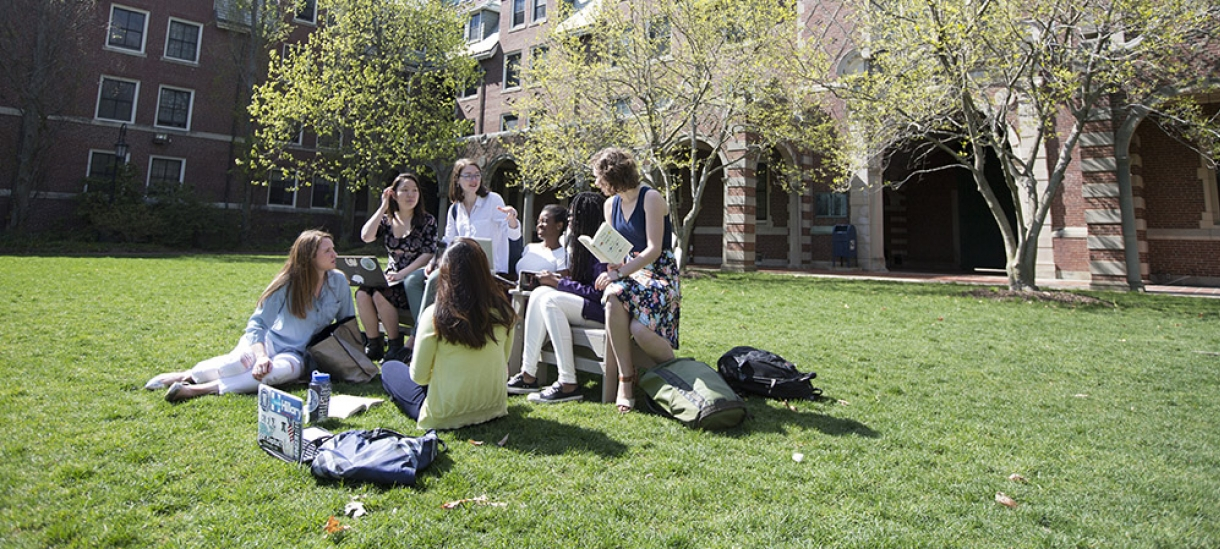 students gathering on campus