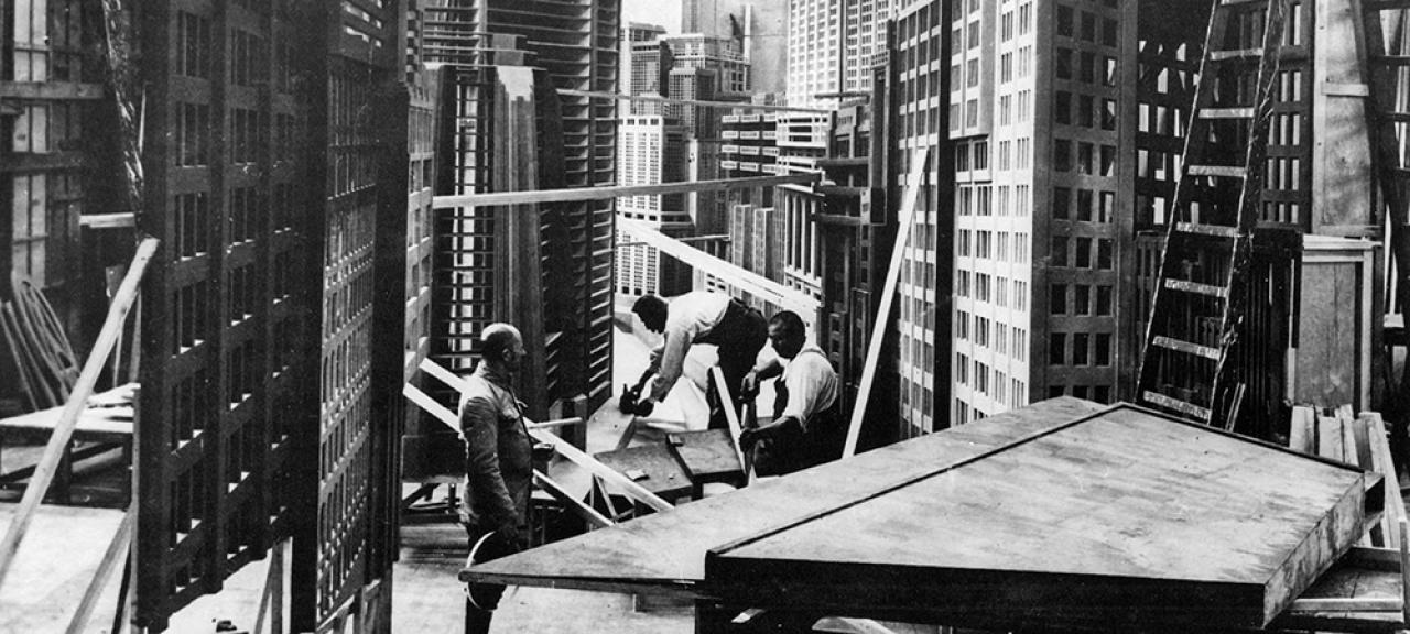 men working on a movie set