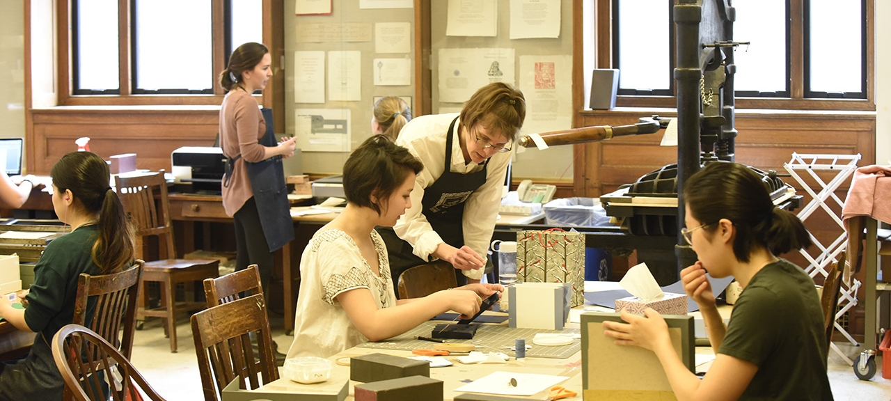 Book Arts class at Wellesley