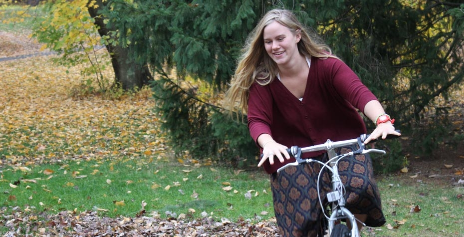Ashley Funk rides her bike