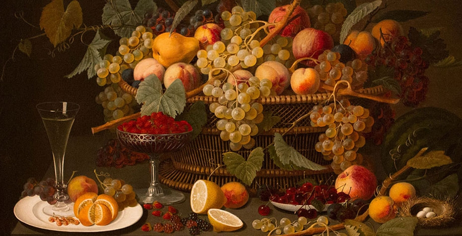 """""""Still Life with Fruit"""", Roesen, Severin (attributed to) (German), 1850-60, Oil on canvas mounted on panel, canvas: 30 1/2 in. x 40 1/2 in. (77.5 cm x 102.9 cm), Gift of Mr. and Mrs. Eliot Stetson Knowles."""