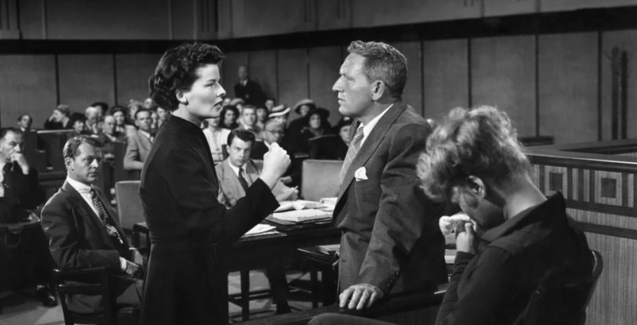 Hepburn and Tracy in scene from Adam's Rib