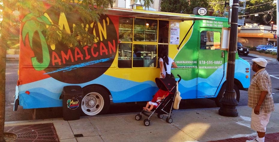 """Makin Jamaican"" food truck on Dorchester Ave in Boston"
