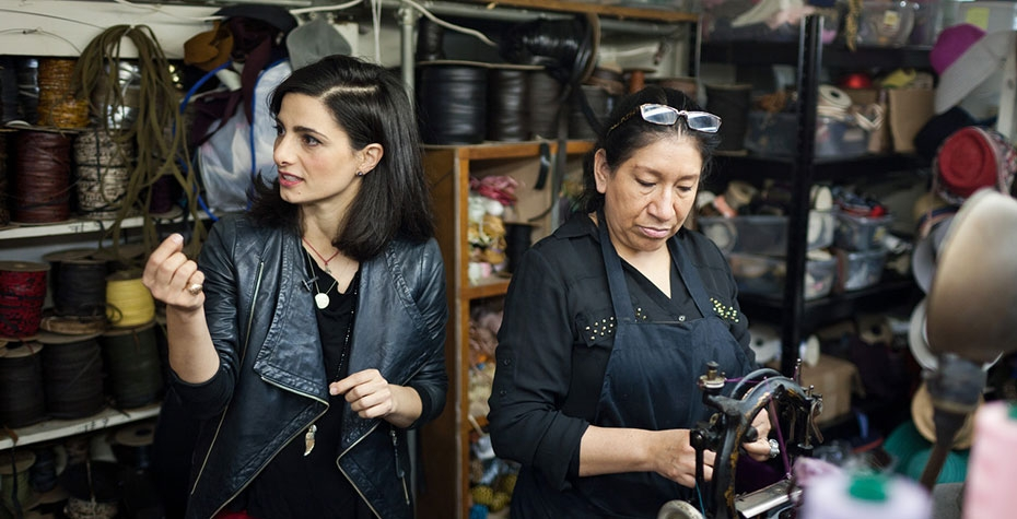 Wall Street Journal photo of Twena in factory with hat maker Angeles Morales