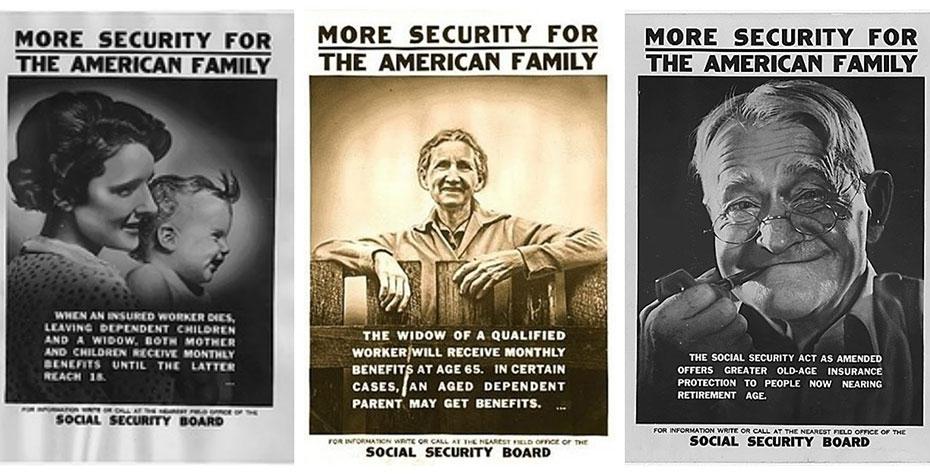 three vintage social security posters
