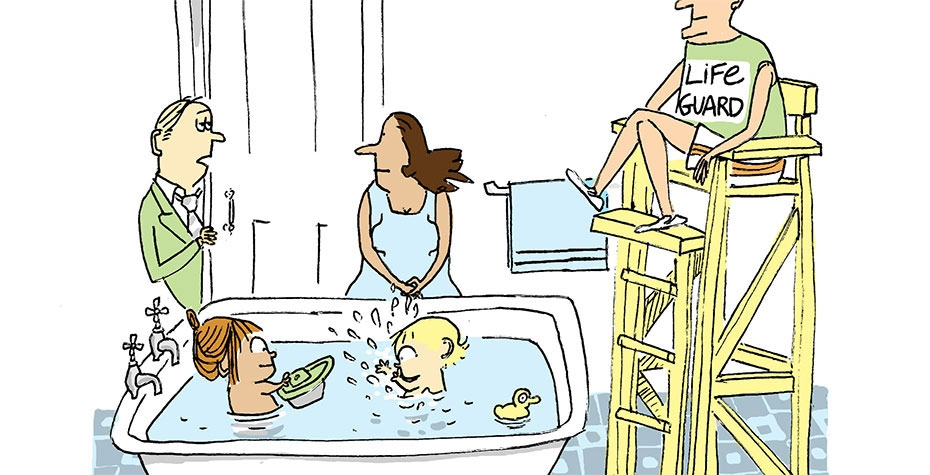 cartoon showing parents supervising children in bathtub, with lifeguard