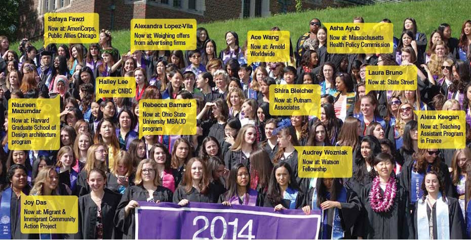 class of 2014 large group photo with 12 names called out to label individuals
