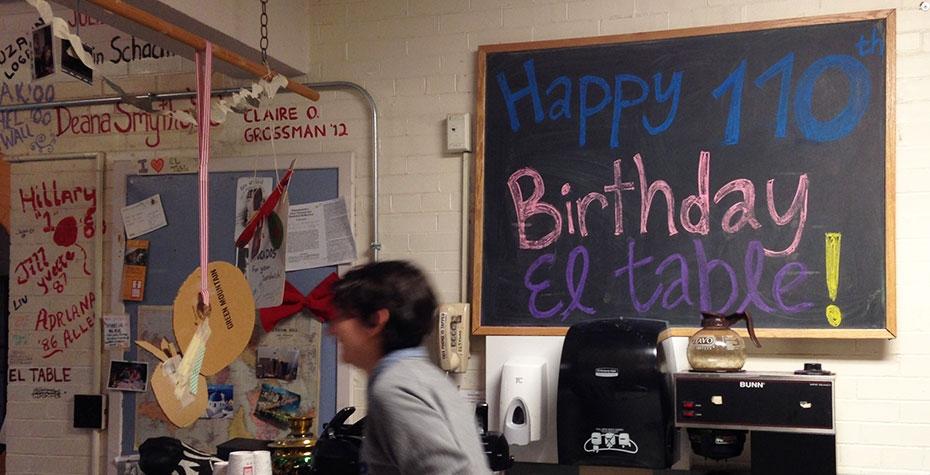 Blackboard sign: Happy 110th Birthday El Table!