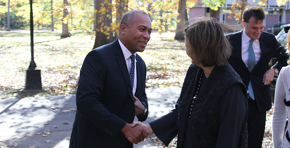governor Patrick and president bottomly shake hands outdoors