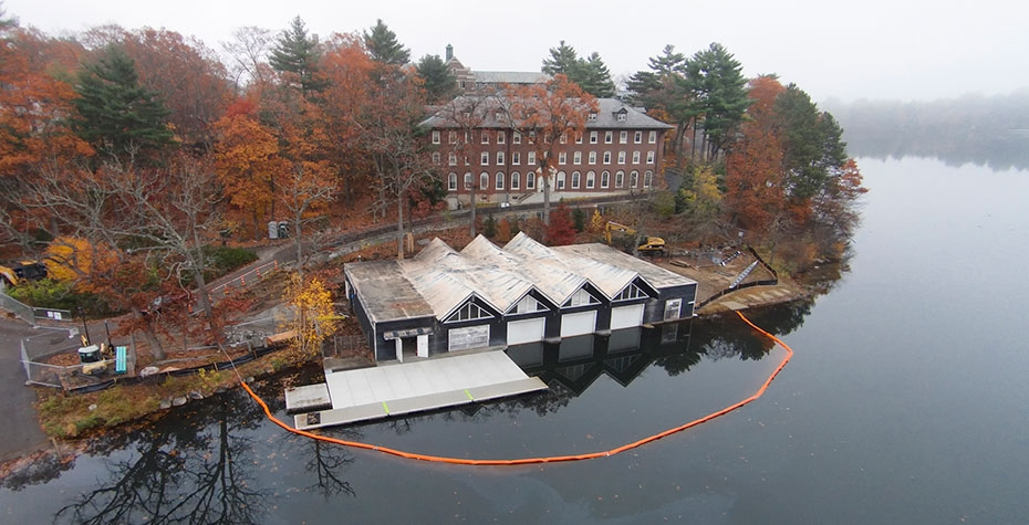 boathouse with water barrier