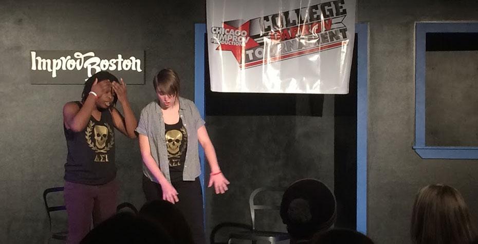 two actors on improv boston stage