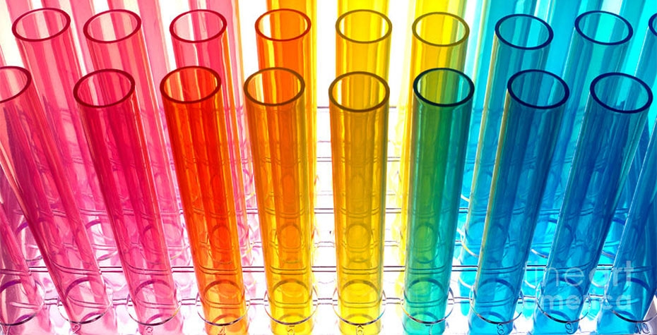 Empty test tubes in rainbow hues
