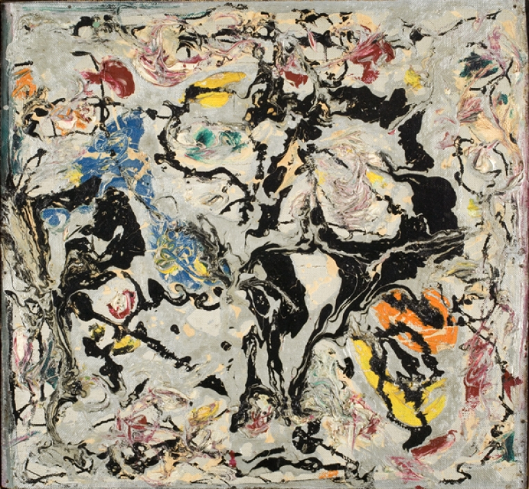 Jackson Pollock, Untitled, 1950. Oil, enamel, and aluminum paint on canvas mounted on composition board, 13 3/16 x 13 1/16 in. Bequest of Merrill Millar Lake (Class of 1936), 1980.29