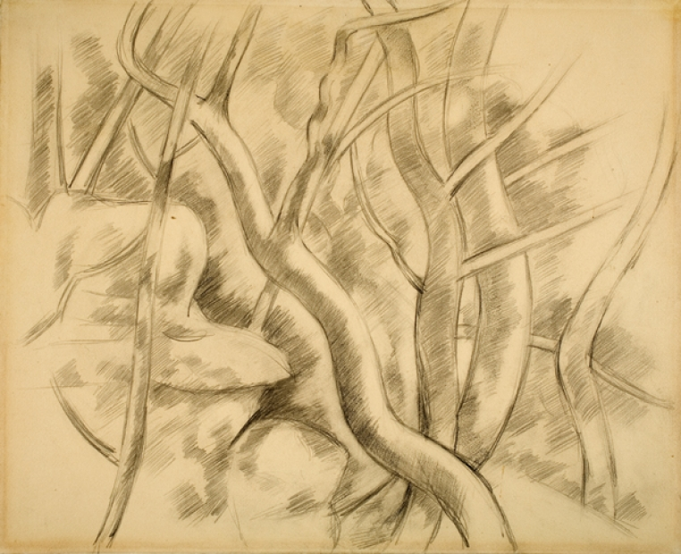 Marsden Hartley, Landscape: France (Aix-en-Provence) (detail), 1926. Graphite with black crayon on paper, 12 x 15 in. Bequest of Mrs. Toivo Laminan (Margaret Chamberlain, Class of 1929), 1979.59
