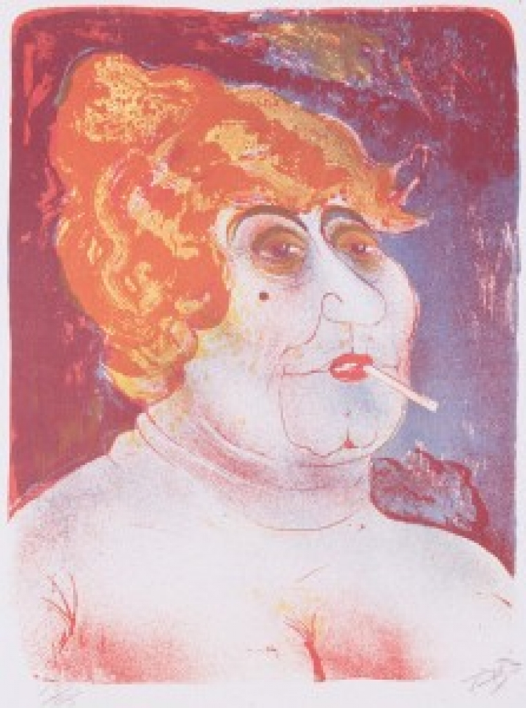 Otto Dix, Kupplerin (Procuress) (detail), 1923. Color lithograph printed from three stones (vermillion, golden yellow and cobalt blue), 23 ½ x 18 3/8 in. Museum purchase, The Dorothy Johnston Towne (Class of 1923) Fund, 2002.26