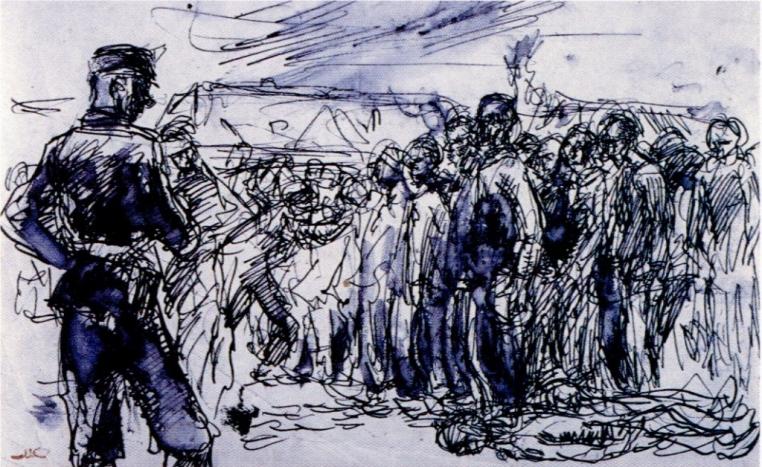 Mieczyslaw Koscielniak, Roll Call at Auschwitz, 1944. Ink on cardboard, 8 1/4 x 11 5/8 in. Auschwitz-Birkenau State Museum in Oswiecim