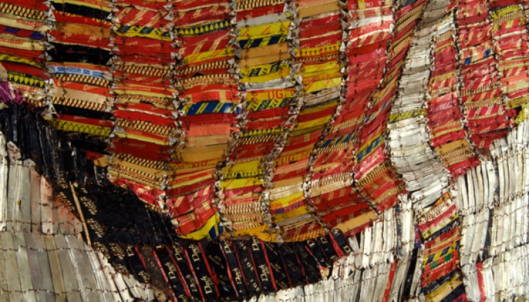 El Anatsui, Plot A Plan III, 2007. Aluminum and copper wire, 73 x 97 in. Photo courtesy: Jack Shainman Gallery.