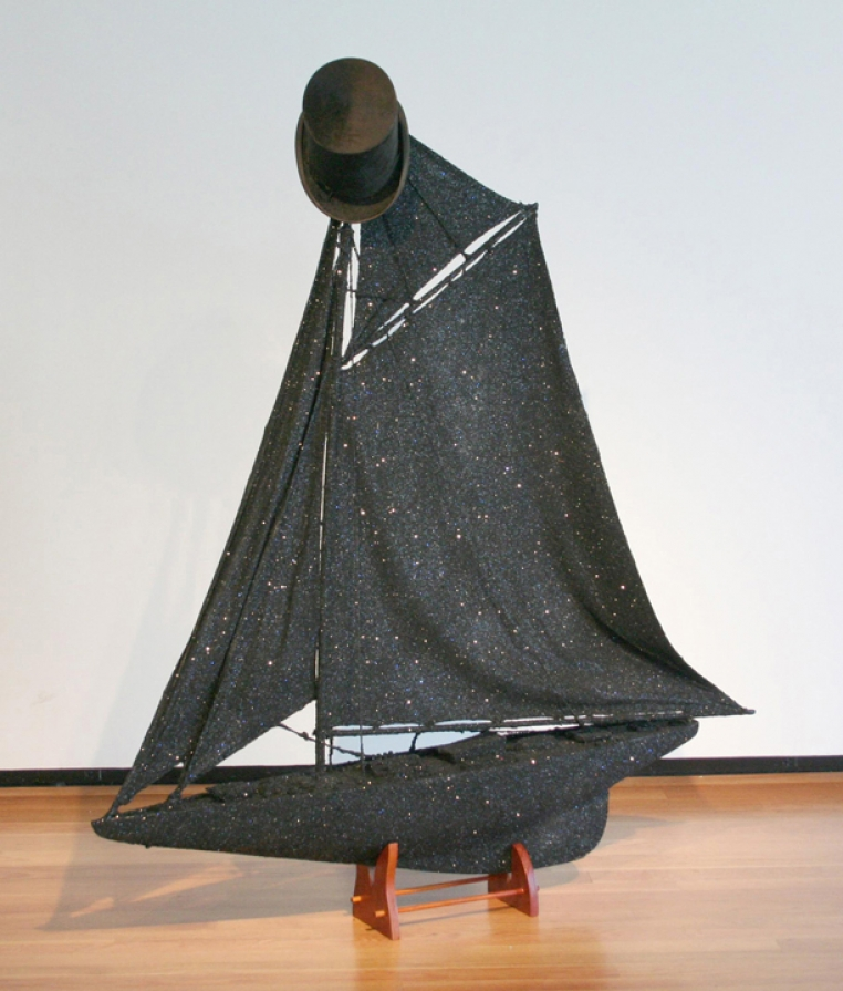 Radcliffe Bailey, Tricky, 2006. Mixed media. 58 1/2 x 8 1/4 in. Courtesy of Jack Shainman Gallery, New York.