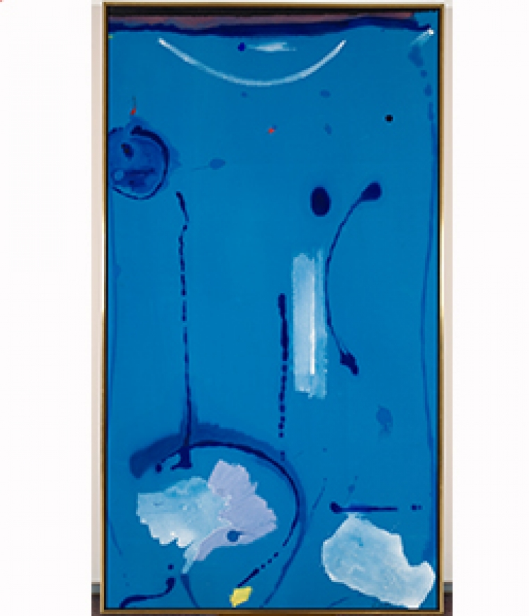 Helen Frankenthaler, Out of the Blue, 1985 Acrylic on canvas overall: 77 in. x 42 in. (195.6 cm x 106.7 cm) Gift of Philip M. Stern, Washington, D.C. 1993.7