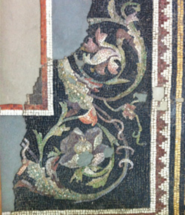 Unknown, Rinceaux and Meander, 1st Century C.E. Mosaic (stone and glass tesserae, mortar), 73 in. x 28 in. Gift of the Committee of Excavation, Antioch and Vicinity (given in appreciation of Prof. W. A. Campbell's work), 1933.10