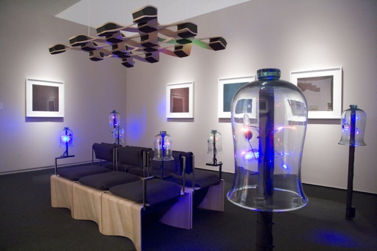 Jenny Olivia Johnson, Glass Heart (bells for Sylvia Plath), 2013 Installation with glass bell jars, audio, and LED lights