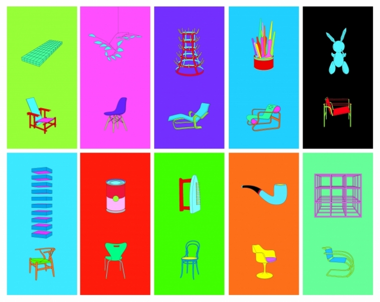 Michael Craig-Martin, Art & Design, 2012 Set of 10 screen prints on Somerset Tub-Sized Satin 410 gsm paper Paper and image 100.0 x 45.3 cm (each) .  Gift of Mary Norton '54, Rose Weinstock '53, Judith Phinney '63, Joan Hass '66, Myra Levenson '61, Susie Bennet '59, Eileen Conroy '75 and John Eckert, Nan Tull '59, Christine Reese '88, Margery Bendetson '48, Cathryn Griffith '88, Fran Schulman '75, and Janet Diederichs '50 in honor of the Friends of Art 50th Anniversary Trip to London.