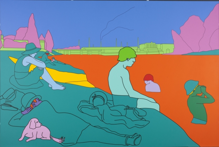 Michael Craig-Martin, Reconstructing Seurat (orange), 2004. Acrylic on aluminum panel, 73 5/8 in. x 110 1/4 in. Extended loan from Mildred Goldsmith Palley (Class of 1978).