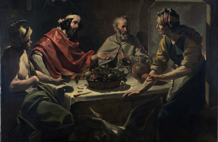 Abraham Janssens, Philemon and Baucis Entertaining Jupiter and Mercury, ca. 1615-25. Oil on canvas, overall: 60 5/16 in. x 91 1/8 in. Gift of Dr. and Mrs. Arthur K. Solomon. 1954.35