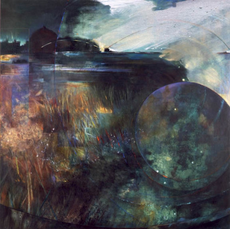 Bunny Harvey, Harmonies of the World, 1990. Oil on Canvas, 78 x 78 inches. Courtesy of the artist.
