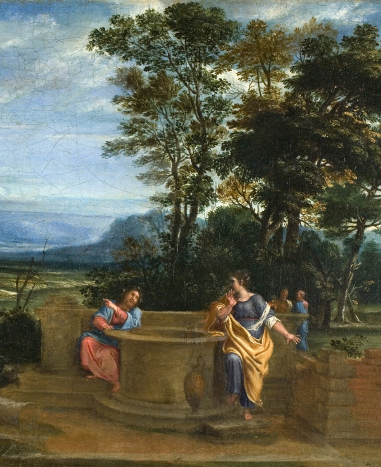 Circle of Annibale Carracci, Christ and the Woman of Samaria, ca. 1620-30.  Oil on canvas, 13 1/4 in. x 20 in. (33.7 cm x 50.8 cm). Gift of Dr. and Mrs. Arthur K. Solomon. 1953.21.