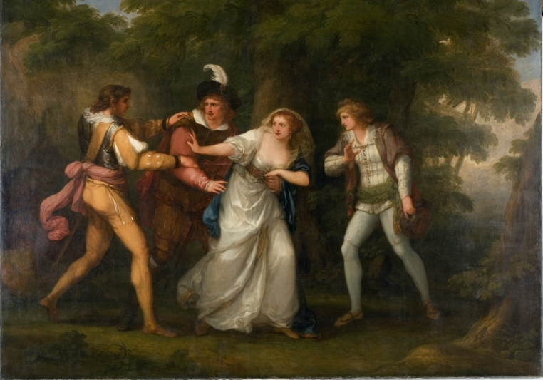 "Angelica Kauffmann, Valentine, Proteus, Sylvia and Giulia in the Forest (Scene from ""Two Gentlemen of Verona"" Act V, Scene IV), 1788. Oil on canvas. Museum purchase in memory of Winifred Herman Friedman (Class of 1945). 1976.34"