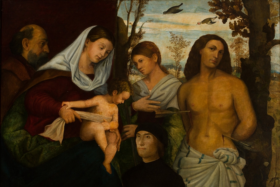 Unknown Venetian artist painting of the Holy Family with St. Catherine, St. Sebastian, and a Donor, 16th century