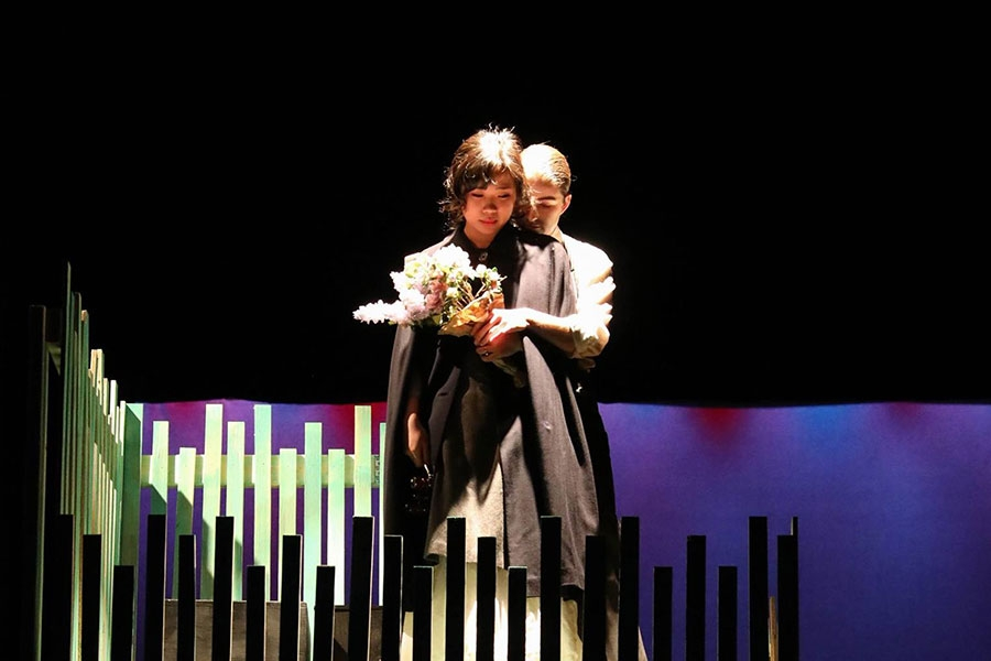 A still from Upstage's Winter 2017 production of Dame With the Dog by Anton Chekhov, adapted and directed by Laura Zawarski '18.
