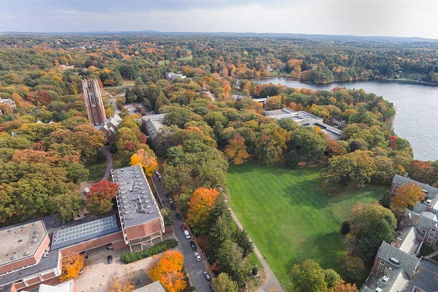 aerial view of Wellesley College campus