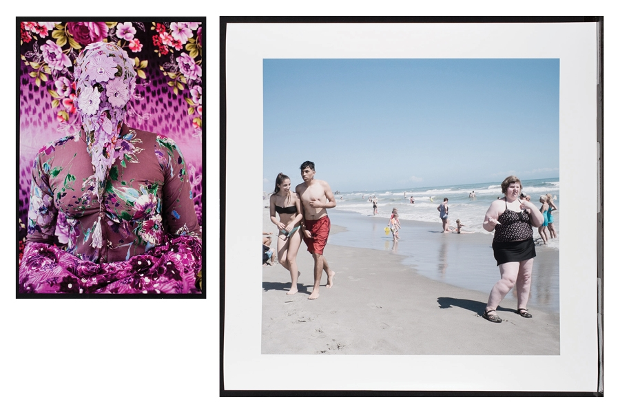 two photos next to each other: one of a person covered in pink flowers, the other are people standing on a beach