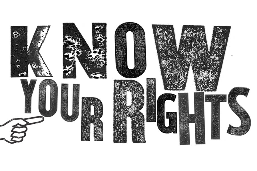 """letters that spell out """"Know your rights"""""""