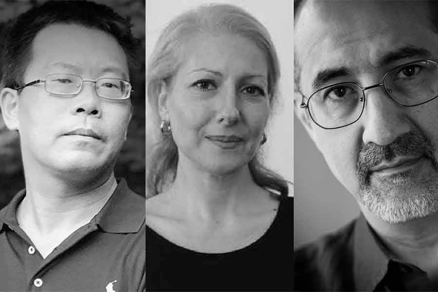 black and white portraits of Teng Biao, Aysen Candas, and Kian Tajbakhsh