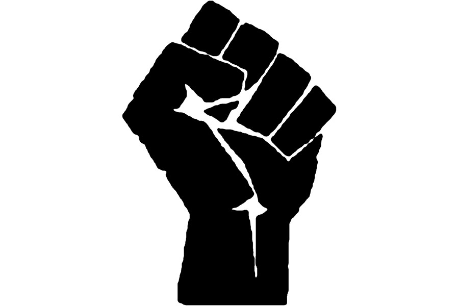 black and white drawing of a fist held up