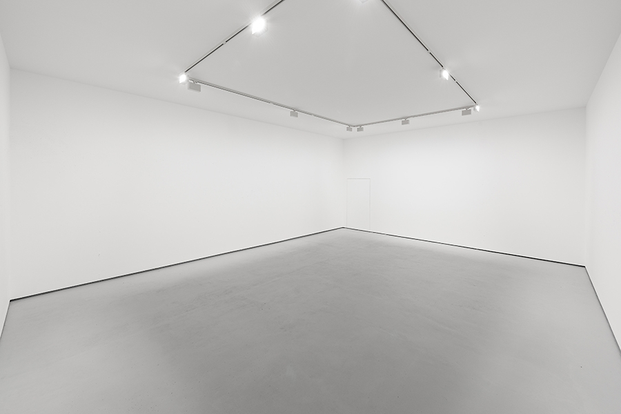 Global Myopia displayed at the 2015 Venice Bienniale: A white room with minimalist overhead lighting