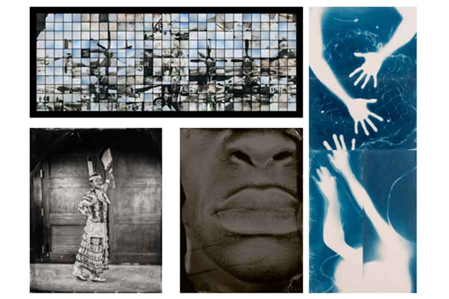 collage of artworks by Myra Greene, Will Wilson, Edie Bresler, and Takashi Arai