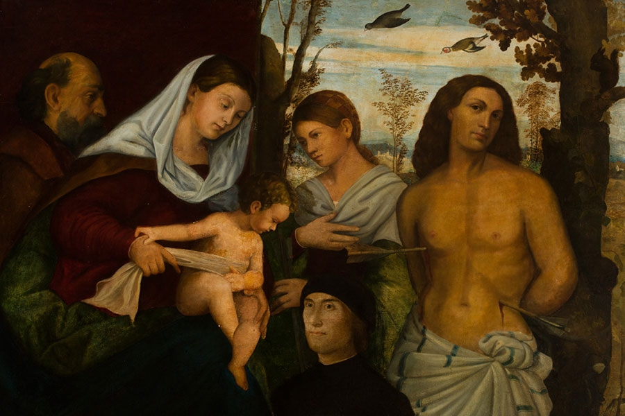 very old painting of a shirtless man (Saint Sebastian) pierced with arrows while people look on.