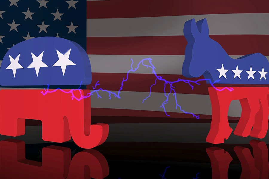 Republican elephant and democrat donkey graphic
