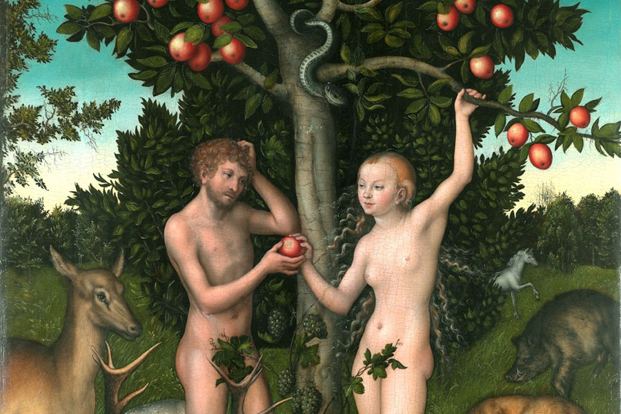 painting of adam and eve nude in the garden of eden, eve is handing adam an apple while a serpent looks on