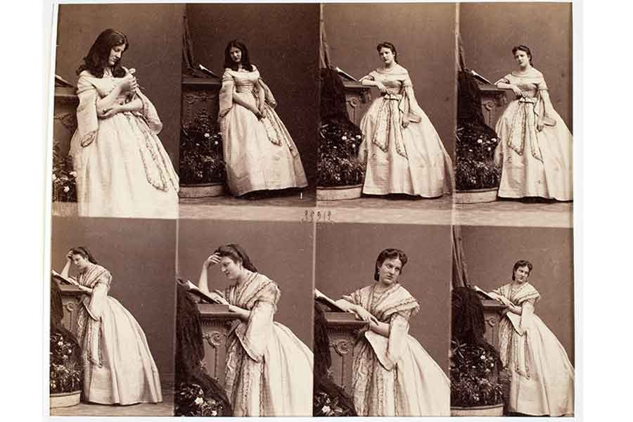 sepia toned antique photos of a woman wearing a white dress and standing in various poses