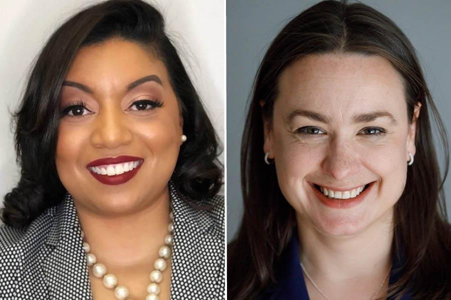 Portrait image of Liz Miranda (left) and Lindsay Sabadosa