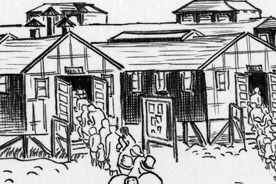 black and white drawing of people waiting in line to enter a building