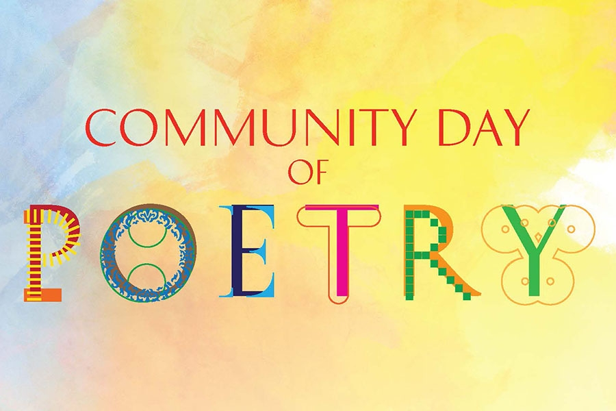 "Text that says ""Community day of poetry"""